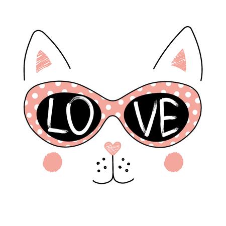 Hand getrokken vectorillustratie van een grappig kattengezicht in zonnebril, met tekstliefde binnen de lenzen wordt geschreven die. Geïsoleerde objecten op witte achtergrond. Ontwerpconcept voor kinderen. Stock Illustratie