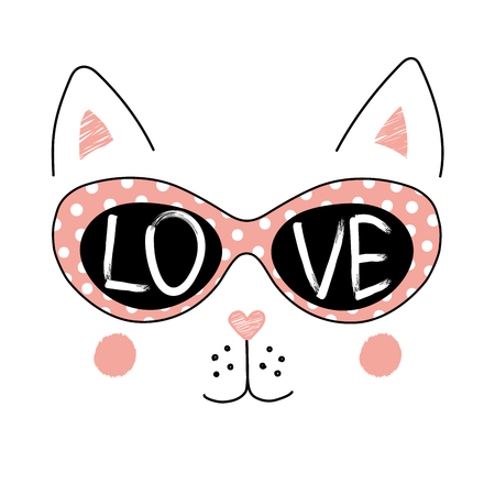 Hand drawn vector illustration of a funny cat face in sunglasses, with text Love written inside the lenses. Isolated objects on white background. Design concept for children.