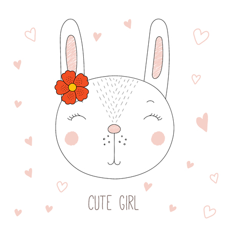 Hand drawn vector portrait of a funny bunny girl with a flower, with hearts and text Cute girl. Isolated objects on white background. Design concept for children.