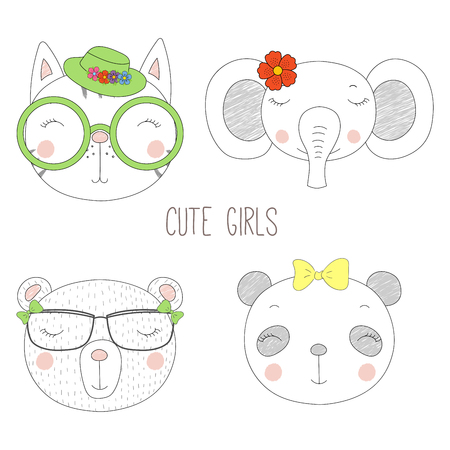 Set of hand drawn cute funny portraits of cat, bear, panda, elephant girls with flowers and hats. Isolated objects on white background. Vector illustration Design concept for kids.
