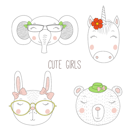 Set of hand drawn cute funny portraits of bear, bunny, unicorn, elephant girls with flowers and hats. Isolated objects on white background. Vector illustration Design concept for kids. Illustration