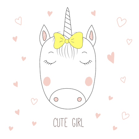 Hand drawn vector portrait of a funny unicorn girl with a bow, with hearts and text Cute girl. Isolated objects on white background. Design concept for children.