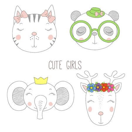 Set of hand drawn cute funny portraits of cat, panda, reindeer, elephant girls with flowers and hats. Isolated objects on white background. Vector illustration Design concept for kids.