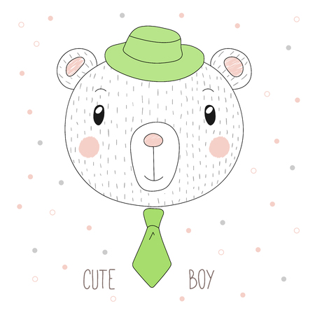 Hand drawn vector portrait of a funny bear boy in a hat and neck tie, with text Cute boy. Isolated objects on white background. Design concept for children.