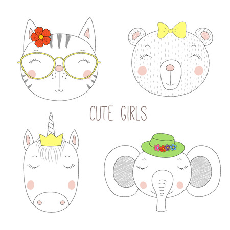 Set of hand drawn cute funny portraits of cat, bear, unicorn, elephant girls with flowers and hats. Isolated objects on white background. Vector illustration Design concept for kids. Illustration