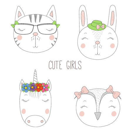 Set of hand drawn cute funny portraits of cat, bunny, unicorn, owl girls with flowers and hats. Isolated objects on white background. Vector illustration Design concept for kids.