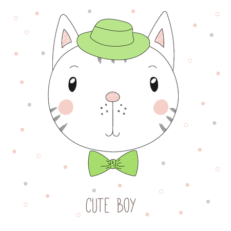 Hand drawn vector portrait of a funny cat boy in a hat and bow tie, with text Cute boy. Isolated objects on white background. Design concept for children. Illustration