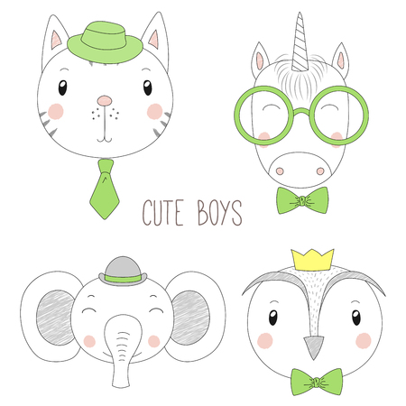 Set of hand drawn cute funny portraits of cat, unicorn, owl, elephant boys with ties, glasses and hats. Isolated objects on white background. Vector illustration Design concept for kids.
