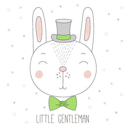 Hand drawn vector portrait of a funny bunny boy in a top hat and bow tie, with text Little gentleman. Isolated objects on white background. Design concept for children. Çizim
