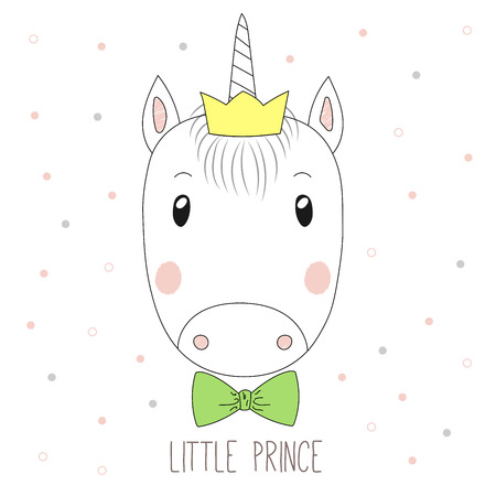 Hand drawn vector portrait of a funny unicorn boy in a crown and bow tie, with text Little prince. Isolated objects on white background. Design concept for children.