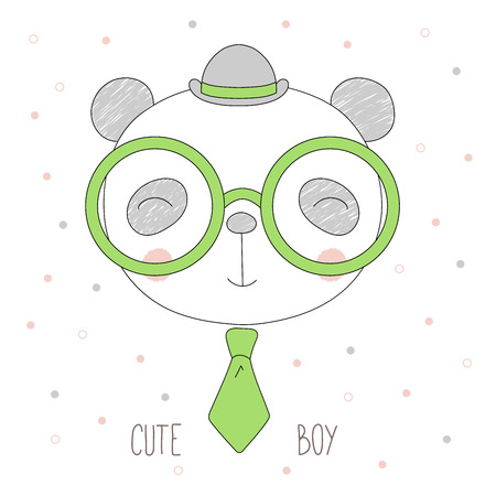 Hand drawn vector portrait of a funny cat boy in a bowler hat, neck tie and glasses, with text Cute boy. Isolated objects on white background. Design concept for children.