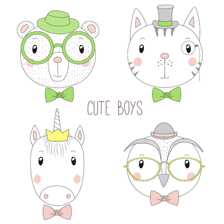 Set of hand drawn cute funny portraits of cat, panda,unicorn, owl boys with ties, glasses and hats. Isolated objects on white background. Vector illustration Design concept for kids. Illustration