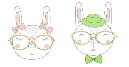 Hand drawn vector portraits of a funny rabbits girl and boy in hats and glasses. Isolated objects on white background. Vector illustration. Design concept for children.
