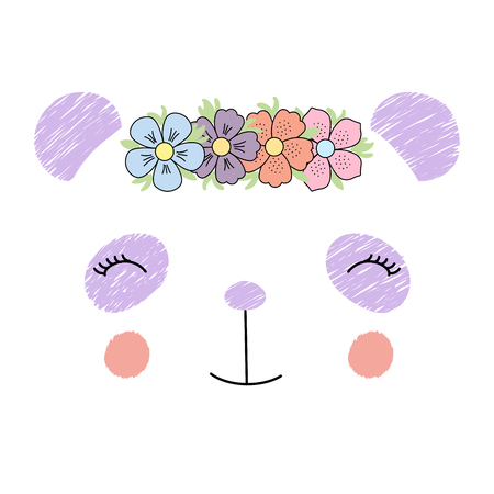 Hand drawn vector illustration of a funny panda girl face in a flower chain. Isolated objects on white background. Design concept for children. Illustration