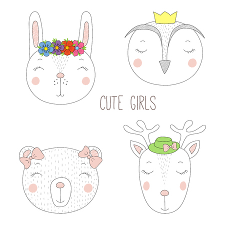 Set of hand drawn cute funny portraits of bear, bunny, reindeer, owl girls with flowers and hats. Isolated objects on white background. Vector illustration Design concept for kids. Illustration