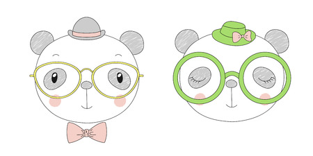 Hand drawn vector portraits of a funny pandas girl and boy in hats and glasses. Isolated objects on white background. Vector illustration. Design concept for children.