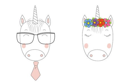 Hand drawn vector portraits of a funny unicorns girl and boy in flower chian and glasses. Isolated objects on white background. Vector illustration. Design concept for children. Çizim