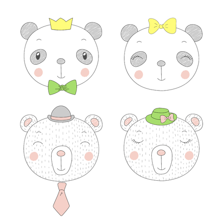 Hand drawn vector portraits of a funny pandas and bears girls and boys in hats. Isolated objects on white background. Vector illustration. Design concept for children.