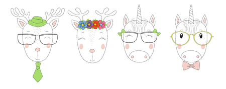 Hand drawn vector portraits of a funny reindeers and unicorns girls and boys in glasses. Isolated objects on white background. Vector illustration. Design concept for children.