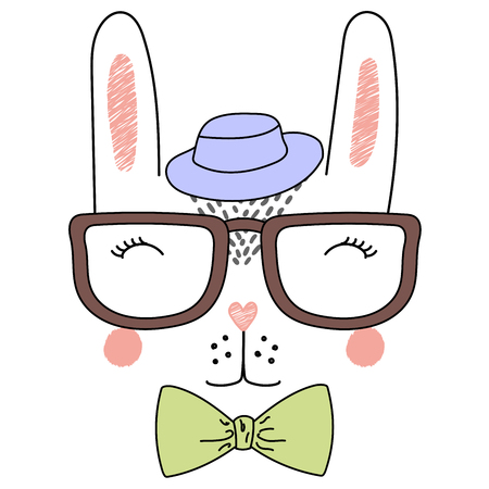 Hand drawn vector illustration of a cute funny rabbit face in a fedora hat, glasses and bow tie. Isolated objects on white background. Design concept for children.