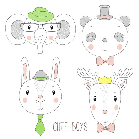 Set of hand drawn cute funny portraits of panda, bunny, reindeer, elephant boys with ties, glasses and hats. Isolated objects on white background. Vector illustration Design concept for kids.