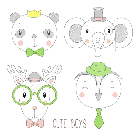 Set of hand drawn cute funny portraits of panda, reindeer, owl, elephant boys with ties, glasses and hats. Isolated objects on white background. Vector illustration Design concept for kids.
