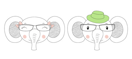 Hand drawn vector portraits of a funny elephants girl and boy in hats and glasses. Isolated objects on white background. Vector illustration. Design concept for children.