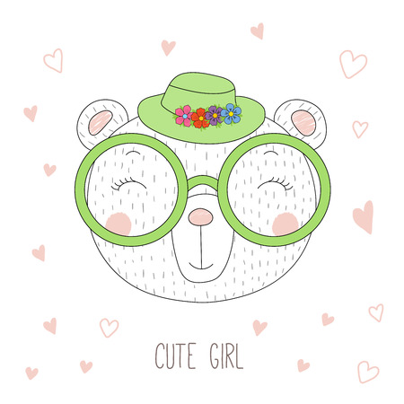 Hand drawn vector portrait of a funny bear girl in a hat with flowers and glasses, with hearts and text Cute girl. Isolated objects on white background. Design concept for children.