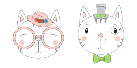 Hand drawn vector portraits of a funny cats girl and boy in hats and glasses. Isolated objects on white background. Vector illustration. Design concept for children. Illustration