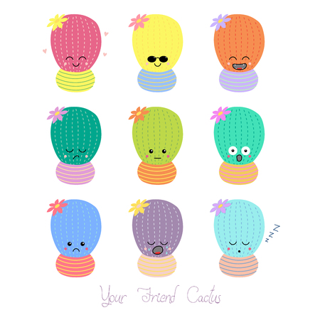 Set of hand drawn cute funny cacti in pots with different face expressions and emotions, text Your friend cactus.  Isolated objects on white background. Design concept for icons, emoticons, stickers.