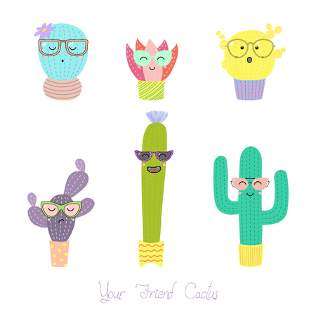 Set of different hand drawn colorful cacti of in pots, wearing glasses, with text Your friend cactus. Isolated objects on white background. Design concept for poster, postcard, stickers. Illustration
