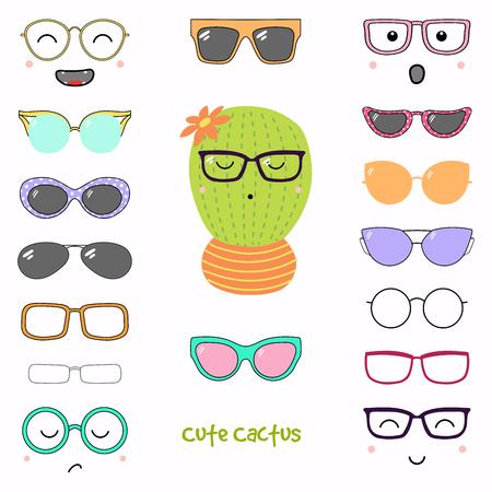 Hand getrokken vectorillustratie van een leuke grappige cactus met een reeks verschillende gezichten, glazen en zonnebril. Geïsoleerde objecten. Ontwerpconcept voor kinderen. Doe het zelf. Stock Illustratie
