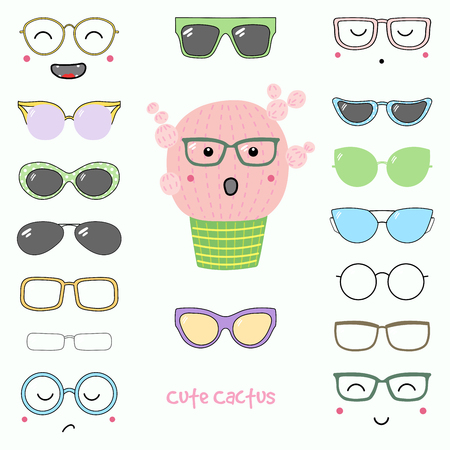 Hand drawn vector illustration of a cute funny cactus with a set of different faces, glasses and sunglasses. Isolated objects. Design concept for children. Do it yourself. Illustration