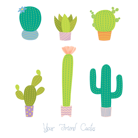 Set of different hand drawn cacti in pots of various forms and colours, with text Your friend cactus.  Isolated objects on white background. Design concept for poster, postcard, stickers. Illustration
