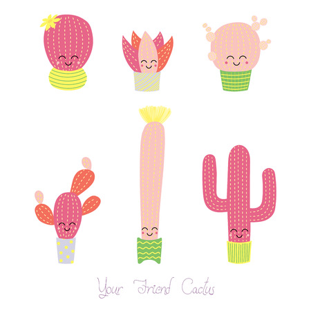 Set of hand drawn cute funny cacti in pots with smiling faces and pink cheeks, with text Your friend cactus.  Isolated objects on white background. Design concept for poster, postcard, stickers.