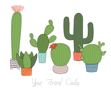 Set of different hand drawn cacti in pots of various forms and colours, with text Your friend cactus.  Isolated objects on white background. Design concept for poster, postcard, stickers. Çizim