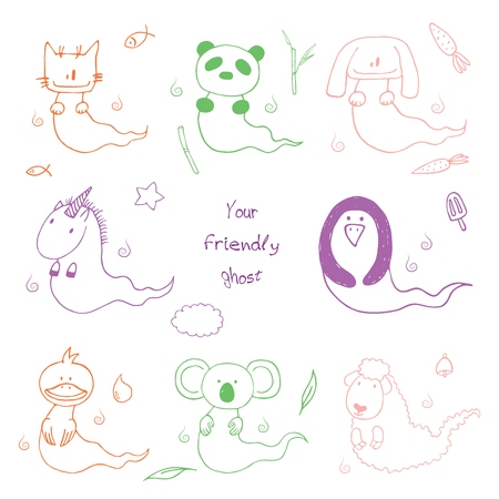 Hand drawn vector illustration of cute animals: cat, panda, unicorn, rabbit, sheep, duck, penguin and koala, text Your friendly ghost. Design concept for children - postcard, sticker, T-shirt print. Illustration