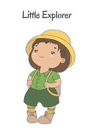 Ilustración de vector dibujado a mano de una linda niña regordeta en un casco de médula, pantalones cortos de color caqui, con una mochila, texto Little explorer. Objetos aislados sobre fondo blanco. Concepto de diseño para niños.