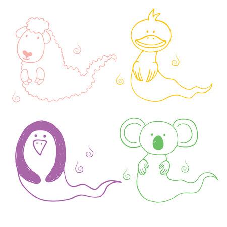 Mano dibuja la ilustración de animales fantasmas de dibujos animados lindo: ovejas, pato, pingüino y koala, en diferentes colores. Diseño para niños, postal, pegatina, estampado de camiseta. Foto de archivo - 88834784