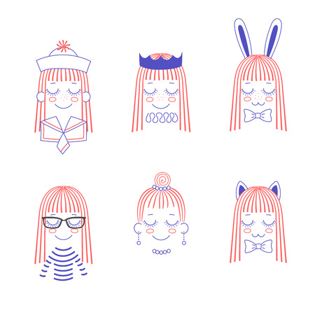 Vector doodles of cute girl faces with long hair, cat and rabbit ears, bow ties, crown, pleated collar, necklace, earrings, sailor hat and collar, striped shirt. Isolated objects on white background. Illustration
