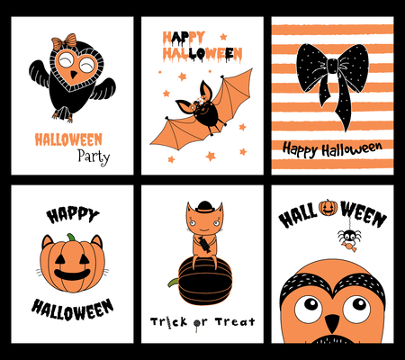 Set of hand drawn templates for Halloween greeting cards, invitations, posters, in orange, black and white, with cute cartoon characters and text. Vector illustration. Design concept for children.