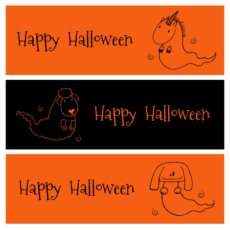 Hand drawn vector banners in black and orange with cute funny cartoon ghost animals: unicorn, sheep, dog (or bunny), with place for text. Isolated objects. Design concept for kids, Halloween elements.