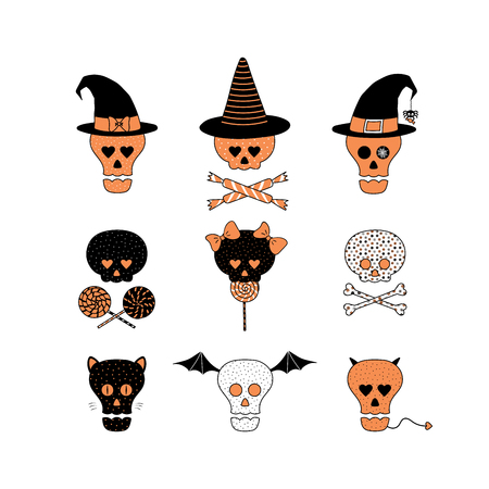 Set of hand drawn vector funny cartoon skulls with different patterns, witch hats, candy, lollipops, bones, ribbons, cat ears, whiskers, bat wings, horns and tail. Design concept for kids, Halloween.