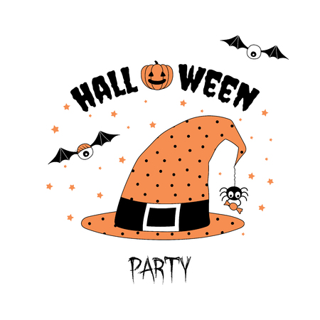 scrap book: Hand drawn vector illustration of an orange witch hat with polka dots, with spider holding candy hanging on a web thread from its tip, with text Halloween party. Isolated objects Design concept kids.