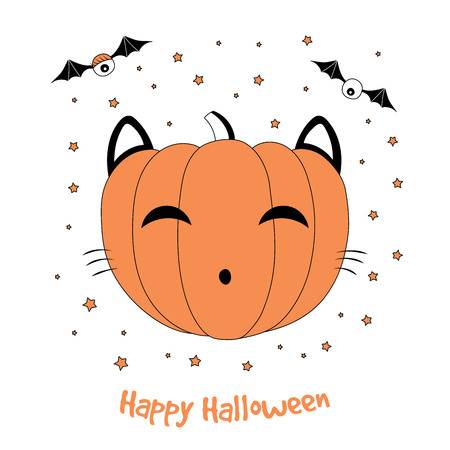 Hand drawn vector illustration of a funny cartoon pumpkin with cat ears and whiskers, with eyes on bat wings, with text Happy Halloween. Isolated objects on white background. Design concept for kids.