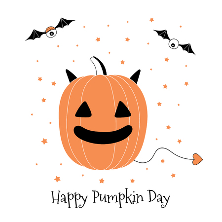 Hand drawn vector illustration of a funny cartoon pumpkin with horns and tail, with eyes on bat wings, with text Happy Pumpkin Day. Isolated objects on white background. Design concept for Halloween.