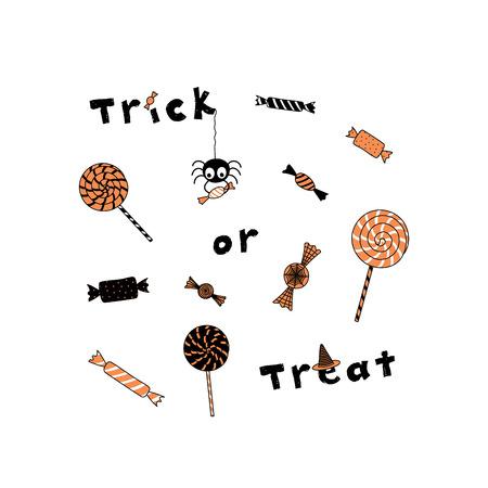Hand drawn vector illustration of a funny cartoon spider holding candy hanging from a thread, different sweets and text Trick or Treat. Isolated objects on white background. Design concept Halloween.