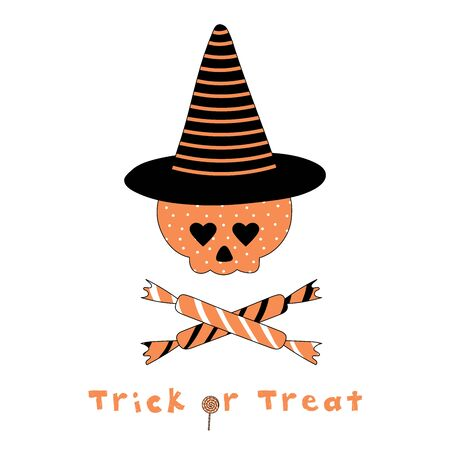 Hand drawn vector illustration of a funny cartoon skull with heart shaped eyes, in a striped pointy hat, with candy and text Trick or Treat. Isolated objects on white background. Design concept kids.