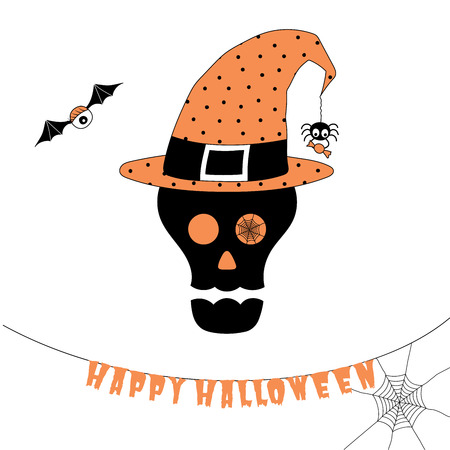 scrap book: Hand drawn vector illustration of a funny cartoon skull in a polka dots witch hat, with spider holding candy hanging on a web thread from its tip, with text Happy Halloween. Design concept for kids. Illustration
