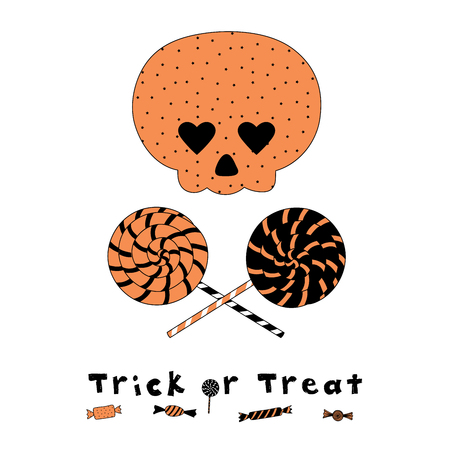 Hand drawn vector illustration of a funny cartoon skull with heart shaped eyes, with spiral lollipops, candy and text Trick or Treat. Isolated objects on white background. Design concept Halloween.